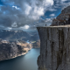 Norway, Preikestolen, nature, landscape, fjord, alone, cliff, mountain, sea, rock wallpaper