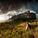 nature, landscape, mountain, grass, clouds, sunset, trees, shrubs, sky, sun rays, Venezuela wallpaper
