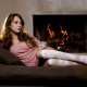 women, Alaina Fox, stockings, fireplace wallpaper