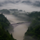 landscape, nature, mist, morning, train, bridge, forest, mountain, trees wallpaper