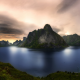 Lofoten, Norway, nature, landscape, sunrise, fjord, island, summer, clouds, village, sky, mountain wallpaper