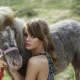 Anastasia Scheglova, women, model, blonde, juicy lips, women outdoors, horse, animals wallpaper