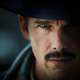 Predestination, mustache, hat, actors, Ethan Hawke, blue eyes wallpaper