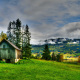 landscape, nature, mountain, huts, lake, grass, fall, trees, HDR, clouds, village wallpaper