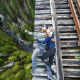 men, women, romance, danger, bridge, couples, rails, railroad, nature, forest wallpaper