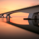 bridge, sunset, evening, reflection, water wallpaper