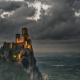 San Marino, castle, landscape, clouds, valley, sky, mountains wallpaper
