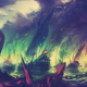 Game of Thrones, Blackwater, fire, fantasy art, boat, ship, colorful wallpaper