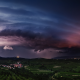 lightning, thunderstorm, storm, clouds, sky, Austria, nature, landscape, field, village, lights wallpaper