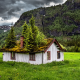 Norway, landscape, nature, summer, abandoned, grass, mountains, house, trees wallpaper