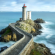 lighthouse, France, bridge, rock, stones, waves, sea, nature, landscape wallpaper