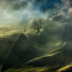 fairy tale, mist, sunrise, village, trees, grass, house, fence, hill, Romania, nature, landscape wallpaper