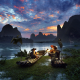 guilin, men, fisher, china, landscape, nature, mountain, sky, river, clouds, boat, bird wallpaper