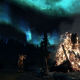 The Elder Scrolls V: Skyrim, video games, aurora, fire, night wallpaper