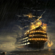 pirate, ship, sailing ship, rain, Manowar, water, sea, night wallpaper