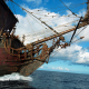 ship, pirate, skeleton, sailing ship, sea, clouds wallpaper