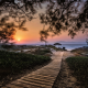 island, path, walkway, beach, sunset, sea, greece, sand, landscape, nature wallpaper