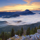 mountains, snowy peak, forest, clouds, sunset, austria, nature wallpaper