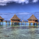 French Polynesia, bungalow, sea, beach, island, tropical, nature, landscape, resorts wallpaper