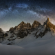 Milky Way, snow, mountains, snowy peak, starry night, spotlight, nature, space wallpaper