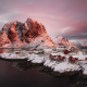fjord, Norway, snow, village, nature, sunrise, winter, mountains wallpaper