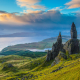 Sunrise, Old Man of Storr, Isle of Skye, Scotland, United Kingdom, nature, clouds, sea, hill wallpaper