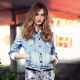 Cara Delevingne, women, model, red lipstick, jeans jacket wallpaper