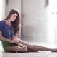 Natalia Contreras, sitting, long hair, long legs, women wallpaper