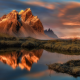 Iceland, mountains, reflections, lake, clouds, landscape, nature wallpaper