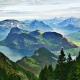 mountains, forest, lake, alps, summer, panorama, nature, landscape wallpaper