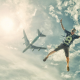 skydiver, sports, jumping, airplane, sky, clouds wallpaper