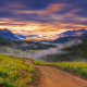 nature, landscapes, sunset, wildflowers, valleys, forests, mountains, clouds, mist wallpaper
