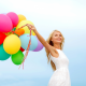 colorful, people, balloon, bride, dress, smile, women wallpaper