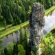 ural mountsins, russia, river, usva, usvinskie rock pilars, tree, water, rock, forest, rock formatio wallpaper