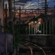 anime, girls, train station, night wallpaper