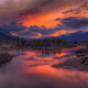 sunrise, rivers, mountains, clouds, snowy peaks, forests, nature, landscapes wallpaper