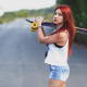 women, redhead, roads, skateboards, jean shorts wallpaper