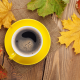fall, maple leaves, mugs, coffee, table wallpaper