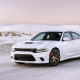 Dodge Charger Hellcat, car, snow, winter, road, Dodge Charger, Dodge wallpaper