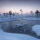 nature, winter, tree, river, snow, frost, Estonia, mist, cold wallpaper