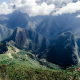 Machu Picchu, clouds, mountains, Peru wallpaper