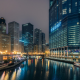 chicago, USA, city, night, river, reflection, building wallpaper