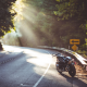 highway, motorcycle, sun rays, road, motorbike wallpaper