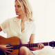 women, blonde, guitar, music, shirt, white clothing, musical instrument wallpaper
