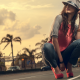 high heels, women, brunettes, jeans, palms, tropics wallpaper