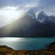 Chile, Torres del Paine, nature, mountains, lake, mist, turquoise water, snowy peaks wallpaper
