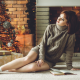 christmas, women, christmas tree, fireplace. holidays, socks, sweater wallpaper