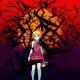 anime, Monogatari Series, Oshino Shinobu, blonde, short hair, skull, crow, red eyes wallpaper