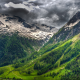 switzerland, spring, mountain, alps, clouds, forest, grass, snowy peak, nature, landscape wallpaper