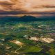 volcano, philippines, sunset, field, city, valley, nature, landscape wallpaper